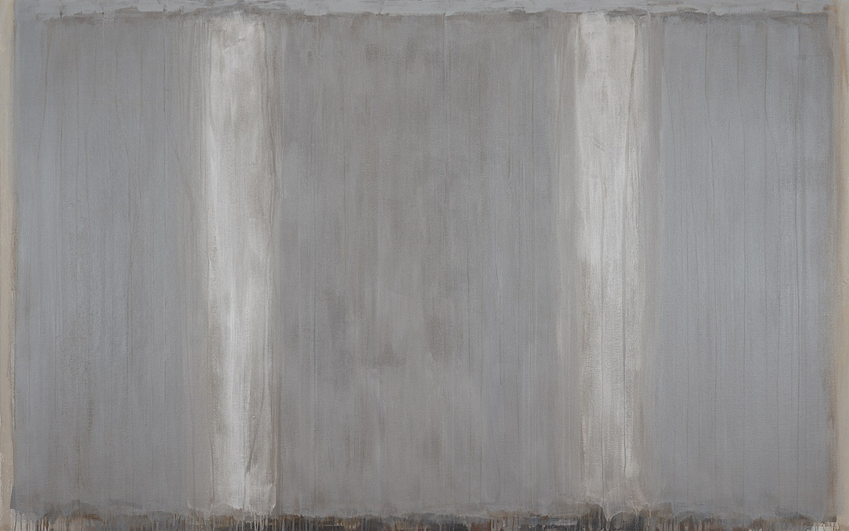 Ian Humphreys – Homage to Josef in Pewter and Grey– Oil on Linen, 152 x 244 cm – 2014