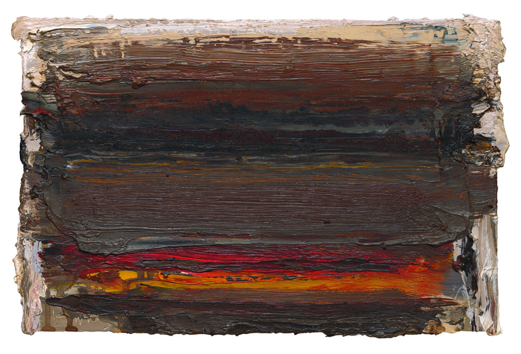 Ian Humphreys – West Edge Fire - Oil On Board – 21 x 31 cm – 2013